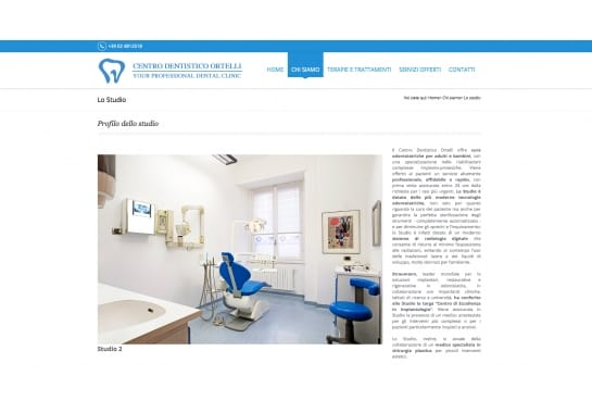 Progetto realizzato per Centro Dentistico Ortelli da Ermes Digital, Sudio grafico, web e seo Milano